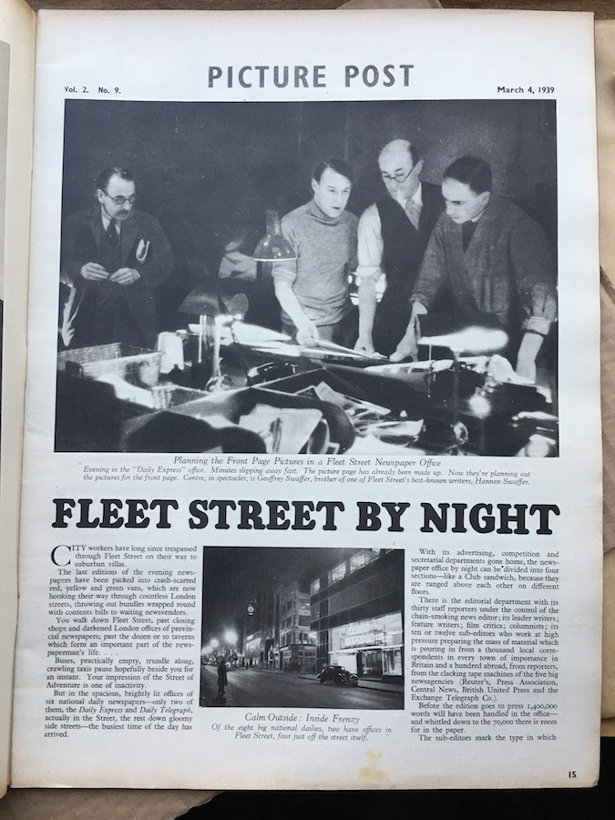 Picture Post 1939 – Fleet Street By Night photographer revealed