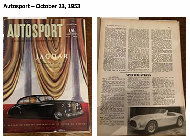 The 1953 AC Ace Prototype 'TPL 792' featured in the October 1953 issue of Autosport